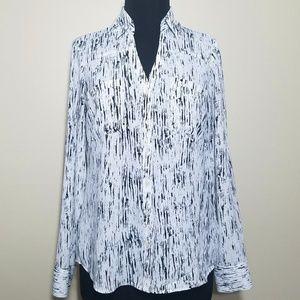 Express White Print Portofino Button Long Sleeve S